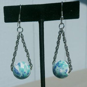 Jewelry - Blue Aqua Colored Bead & Chain Earrings